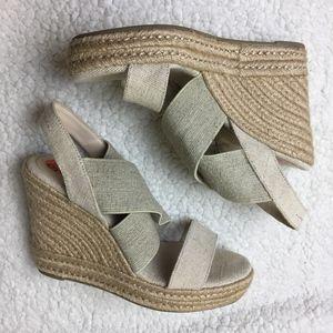 Ralph Lauren Strapped Beige Wedge Sandal